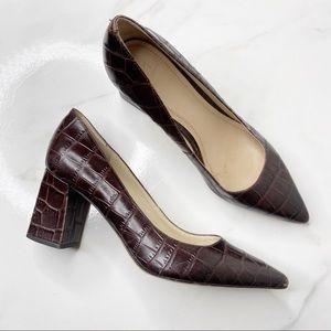 Marc Fisher Brown Croc Leather Zara Block Heels 9